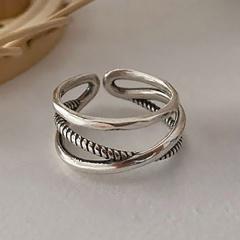 Cross twist silver geometric open copper ring A