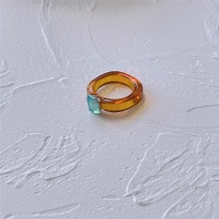 Geometric square candy color resin gemstone ring Coffee color