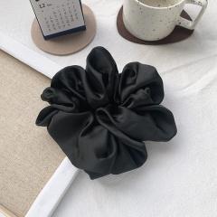 Simple satin shiny pleated hair tie Black