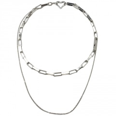 Double Layers Love Heart Thick Chain Clavicle Necklace (chain length 44cm) 18KGP