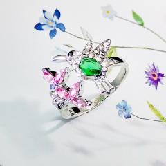 Hummingbird Colorful Cubic Zirconia Ring #7