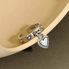 Vintage love tag heart-shaped open copper ring Ancient silver