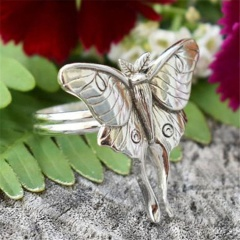 Vintage butterfly animal ring (size #7) Ancient silver