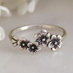 Vintage flower daisy ring (szie #7) Ancient silver