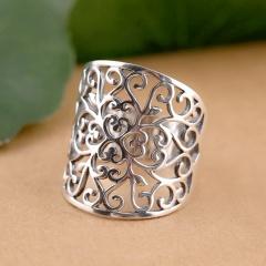 Vintage openwork pattern open ring silver