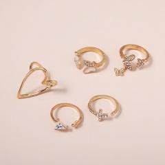 5pcs/set Geometric love heart hollow full rhinestone enamel butterfly ring set gold