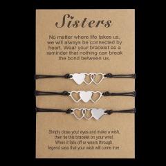 Stainless steel hollow weave festival Paper Card Bracelet Set (Circumference 16-28cm, paper jam: 12*8cm) 3pcs  Sister