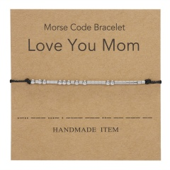 Stainless steel bead code hand-woven paper card bracelet (Chain length: 16-25cm paper card: 8*8cm) Love You Mom