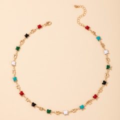 Bohemian style colorful enamel butterfly short necklace gold