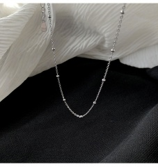 S925 Silver Round Bead Clavicle Necklace (chain length 45cm) platinum