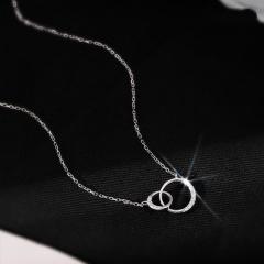 Double ring hollow cubic zirconia copper clavicle chain necklace (Pendant size: 0.7/1cm, chain length: 40+5cm) platinmum