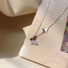 Double Butterfly Cubic Zirconia Copper Clavicle Chain Necklace (Pendant size: 0.7/1cm, chain length: 40+5cm) platinum