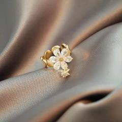 Geometric water drop flower cubic zirconia open copper ring gold
