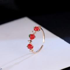 Simple strawberry enamel inlaid rhinestone open ring three  strawberrys