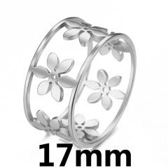 Geometric circular flower hollow ring 17mm steel
