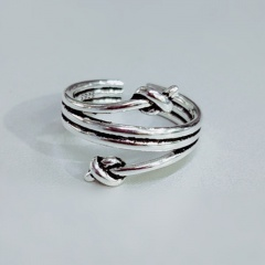 Retro multilayer double knot open copper ring Ancient silver