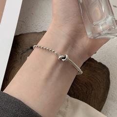 Silver plated INS wind knot bracelet bracelet opp 15cm
