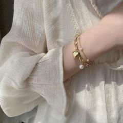 INS style double layer imitation pearl chain heart pendant bracelet bracelet #golden