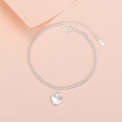 925 silver plated heart-shaped chain bracelet opp 15+3cm