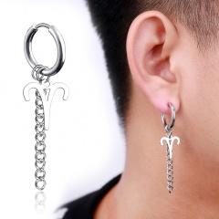 Chain twelve constellations stainless steel ear buckle ear ring men's ear hole earrings (size 1.7*5cm) opp Aries