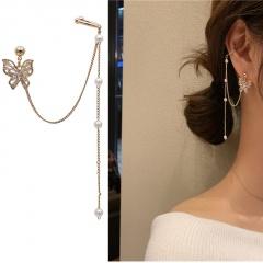 925 silver pin zircon butterfly chain tassel earrings stud earbone clip gold earring (size 9cm) opp 1pcs/set