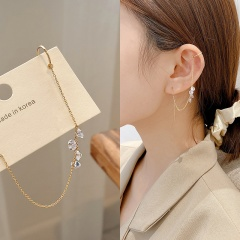 925 silver needle rhinestone gold earrings with tassel studs and earbone clip 9cm