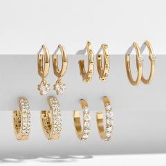 5pcs/set Full cubic zirconia exaggerated C-shaped ring earrings set white