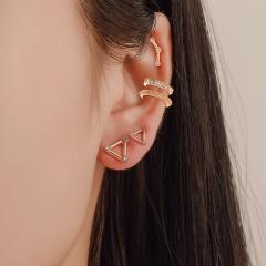 Vintage earring clip earring stud gold earring geometric set metal (size 1.5cm) opp 5pcs/set