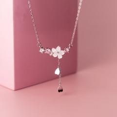 Sakura Flower Shell Cubic Zirconia Tassel Clavicle Chain Necklace (Pendant size: 1.8*2.9cm, chain length 41+5cm) silver