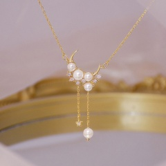Moon Pearl Cubic Zirconia Tassel Necklace Earrings necklace