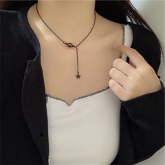 Black hollow-out planet star pendant collarbone chain necklace opp 34+5cm