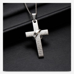Ring Cross Scripture Stainless Steel Pendant Necklace (size 60cm) opp Steel color