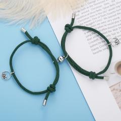 2pcs/set Couples Friend Pendant Magnet Paper Card Bracelet Set dark green