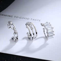 Three-layer cube chain C-shaped copper cubic zirconia earrings set (size 11mm) 3pcs/set