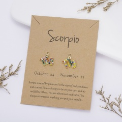 Color rhinestone symbol version twelve constellation paper card earrings Scorpio