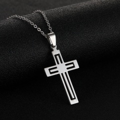 Double Cross Pendant Stainless Steel Necklace (chain length 50cm) steel color