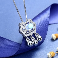 Lucky Long Life Lock Moonstone Box Chain Copper Necklace (chain length 45cm) platinum