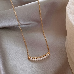 Baroque Freshwater Pearl Long Copper Plated Gold Necklace (chain length 44.5cm) gold