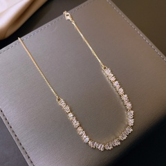 Irregular cubic zirconia adjustable copper clavicle necklace gold