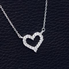 Love Hollow Cubic Zirconia Zirconia Clavicle Chain Necklace (Pendant: 1.3cm, chain length: 40+5cm) platinum