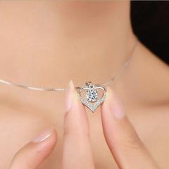 Love White Rhinestone Crystal Cubic Zirconia Clavicle Chain Necklace (Pendant: 1.4*2cm, chain length: 45cm) platinum