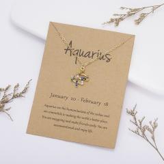 KC gold plated Colored rhinestone symbol version twelve constellation paper card necklace Aquarius