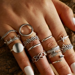 Feather flower starfish arrow wave spray joint ring set (size 1.5-1.8cm) silver 13pcs/set