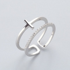 Cross Double Opening Adjustable copper cubic zirconia ring paltinum