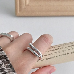 Long geometric interwoven double-layer open adjustable copper ring sliver