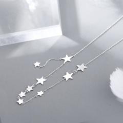 9 Stars Tassel Pendant Short Copper Clavicle Necklace (chain length 40+5cm) platinum