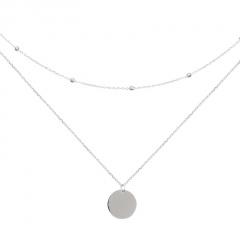 Disc Pendant Double Copper Clavicle Necklace (chain length 37/40+5cm) platinum
