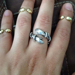 Double ring broken arm love hug open ring silver