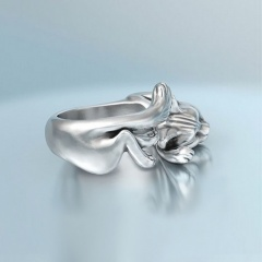 Cat open ring Ancient silver