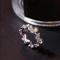 7 Butterflies Full Rhinestone Copper Open Ring silver
